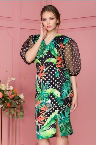 Rochie Jane neagra cu imprimeu tropical si buline albe
