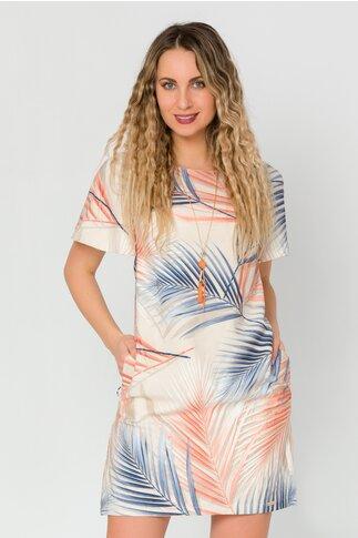 Rochie Janette lejer cu  imprimeu exotic in nuante de albastru si orange