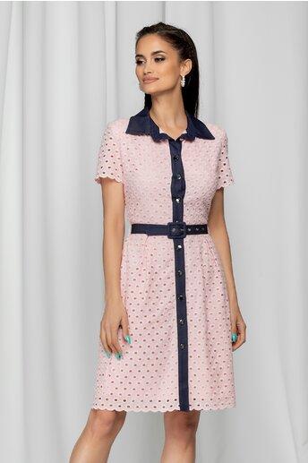 Rochie Janina roz tip camasa cu model ajurat