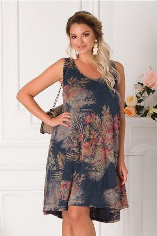 Rochie Jaqueline bleumarin cu imprimeu floral