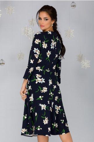 Rochie Jasmine bleumarin cu imprimeu floral ivoire