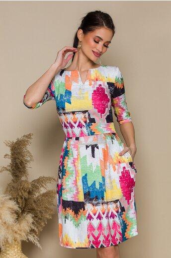 Rochie Jennifer cu imprimeu geometric multicolor