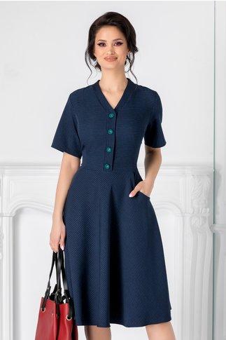 Rochie Jenny bleumarin cu linii verzi