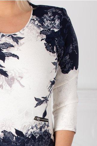 Rochie Jenny ivoire cu imprimeu floral bleumarin