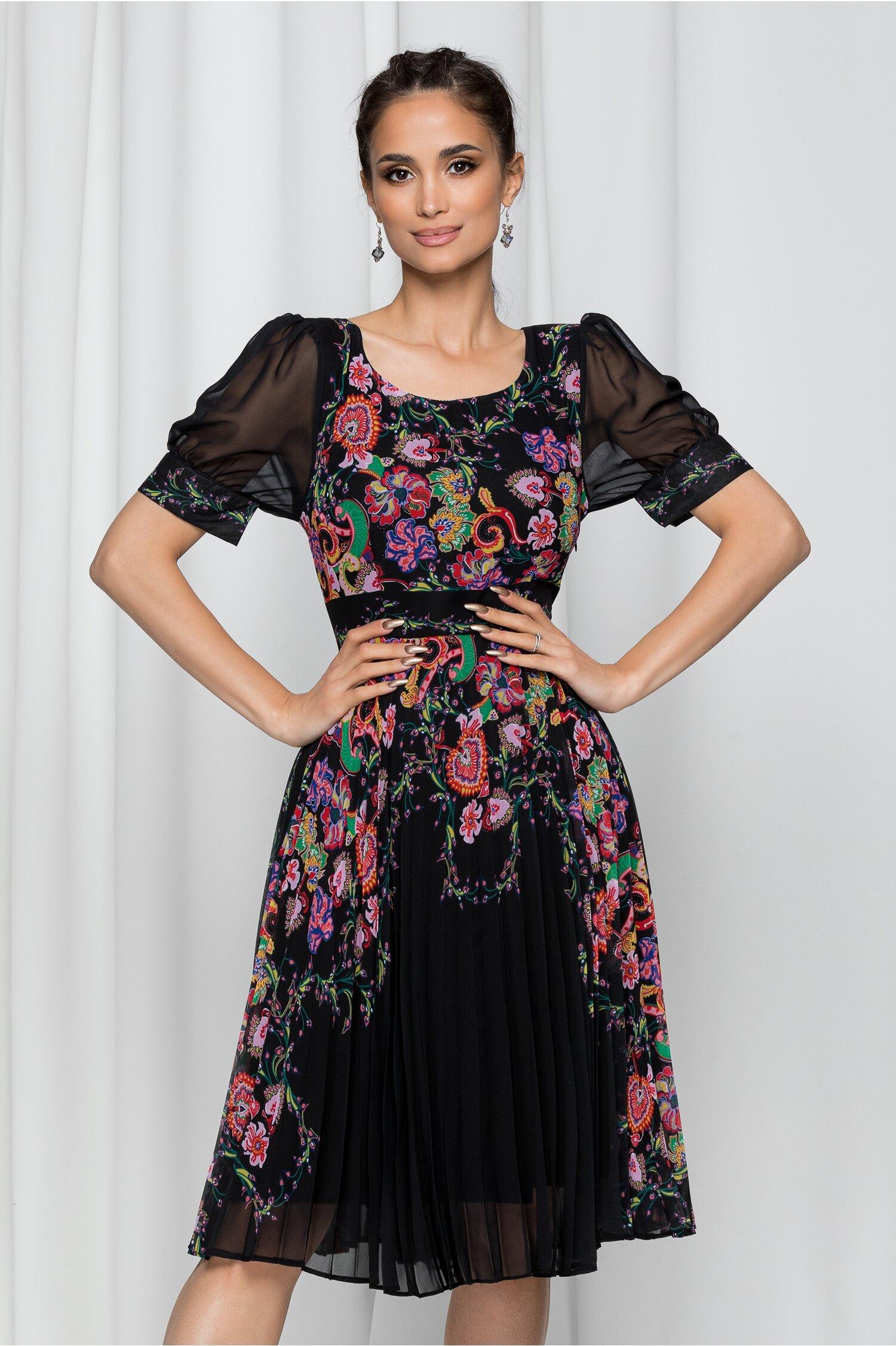 Rochie Jessica neagra cu imprimeu floral multicolor