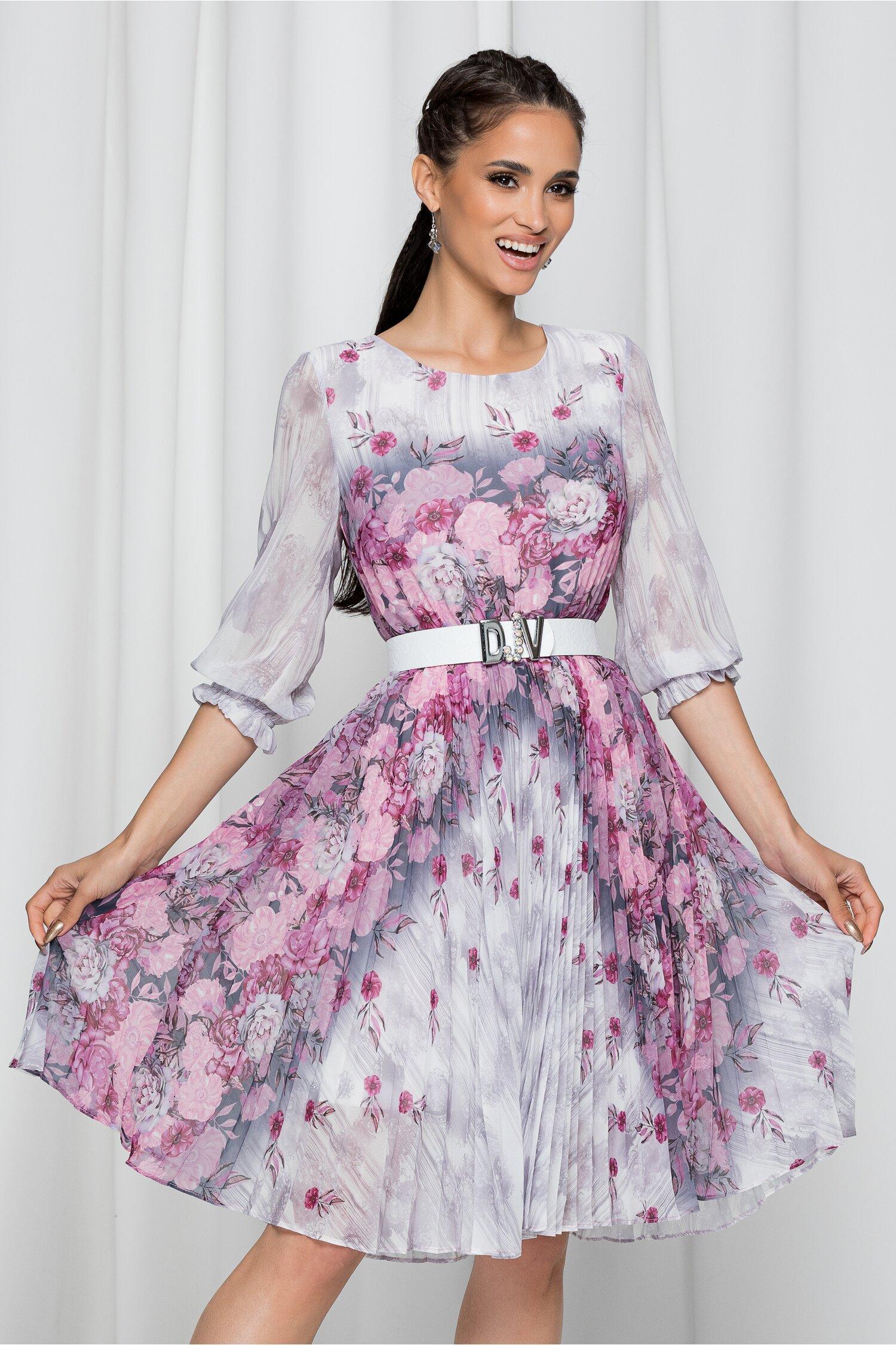 Rochie Jolanda gri cu imprimeu floral si pliuri pe fusta