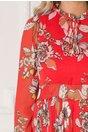 Rochie Joline lunga corai cu imprimeu floral si fusta plisata