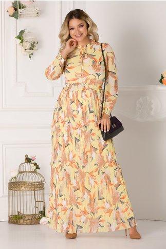Rochie Joline lunga galben pal cu imprimeu floral si fusta plisata