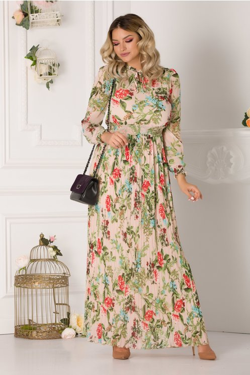 Rochie Joline lunga nude-rose cu imprimeu floral si fusta plisata