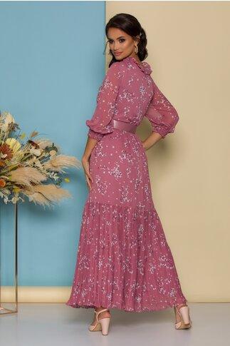 Rochie Joline lunga roz cu imprimeu floral si fusta plisata la baza