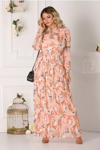 Rochie Joline lunga somon cu imprimeu floral si fusta plisata