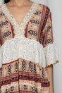 Rochie Juana ivory cu perforatii si imprimeu floral rosu