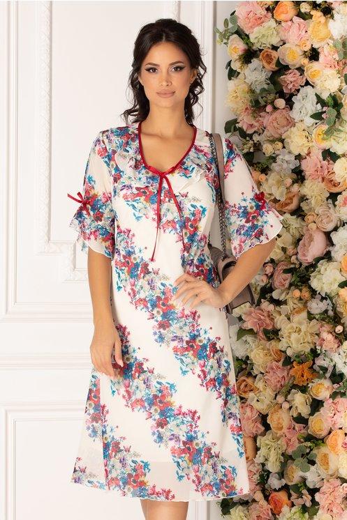 Rochie Julia alba vaporoasa cu imprimeu floral