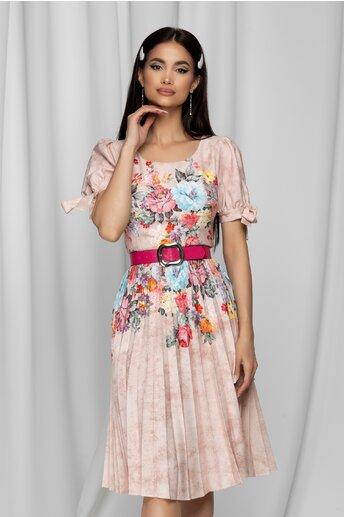 Rochie Julia roz cu imprimeu floral si pliuri pe fusta