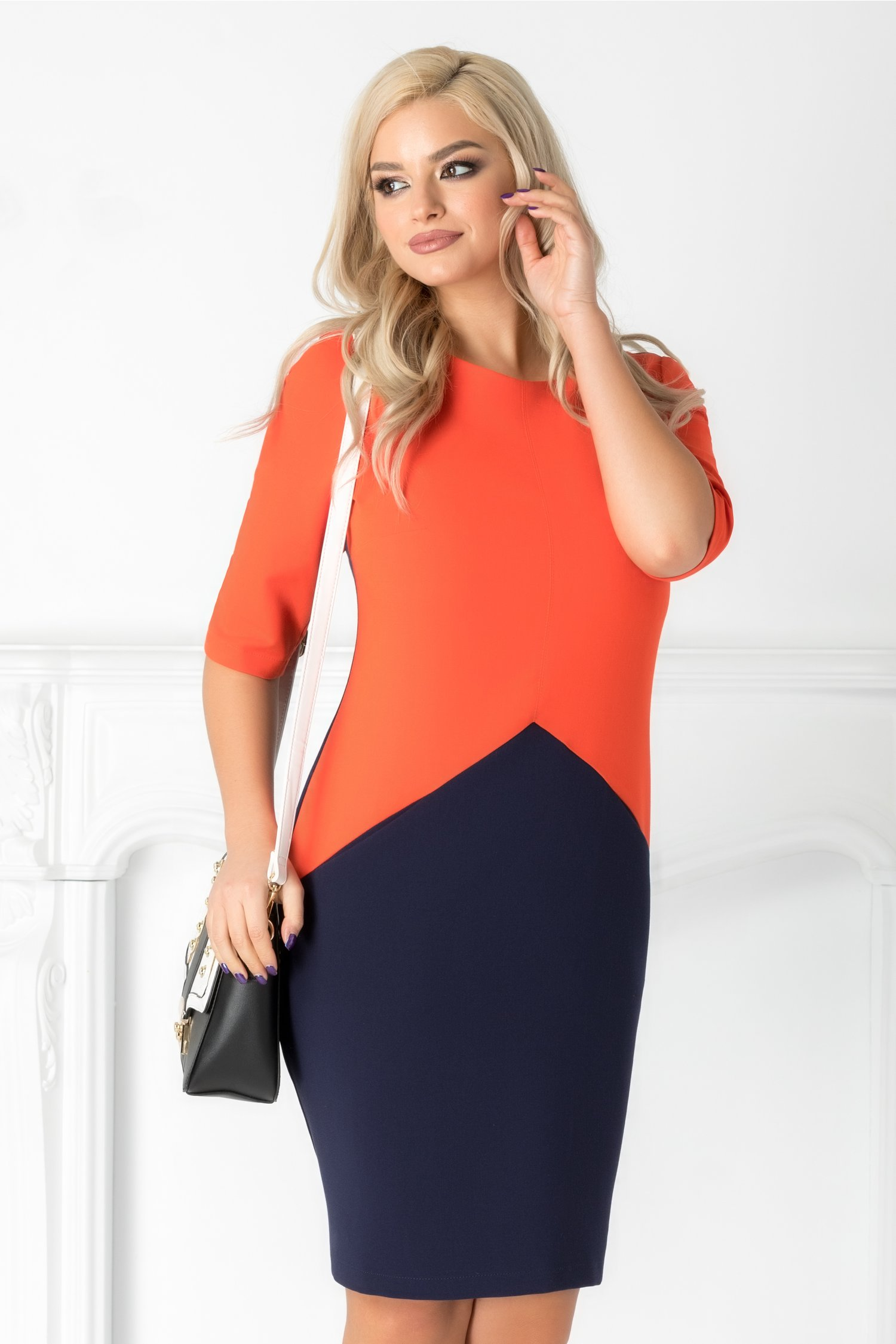 Rochie Julieta office bleumarin cu orange