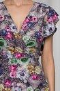 Rochie Juliette gri cu trandafiri colorati