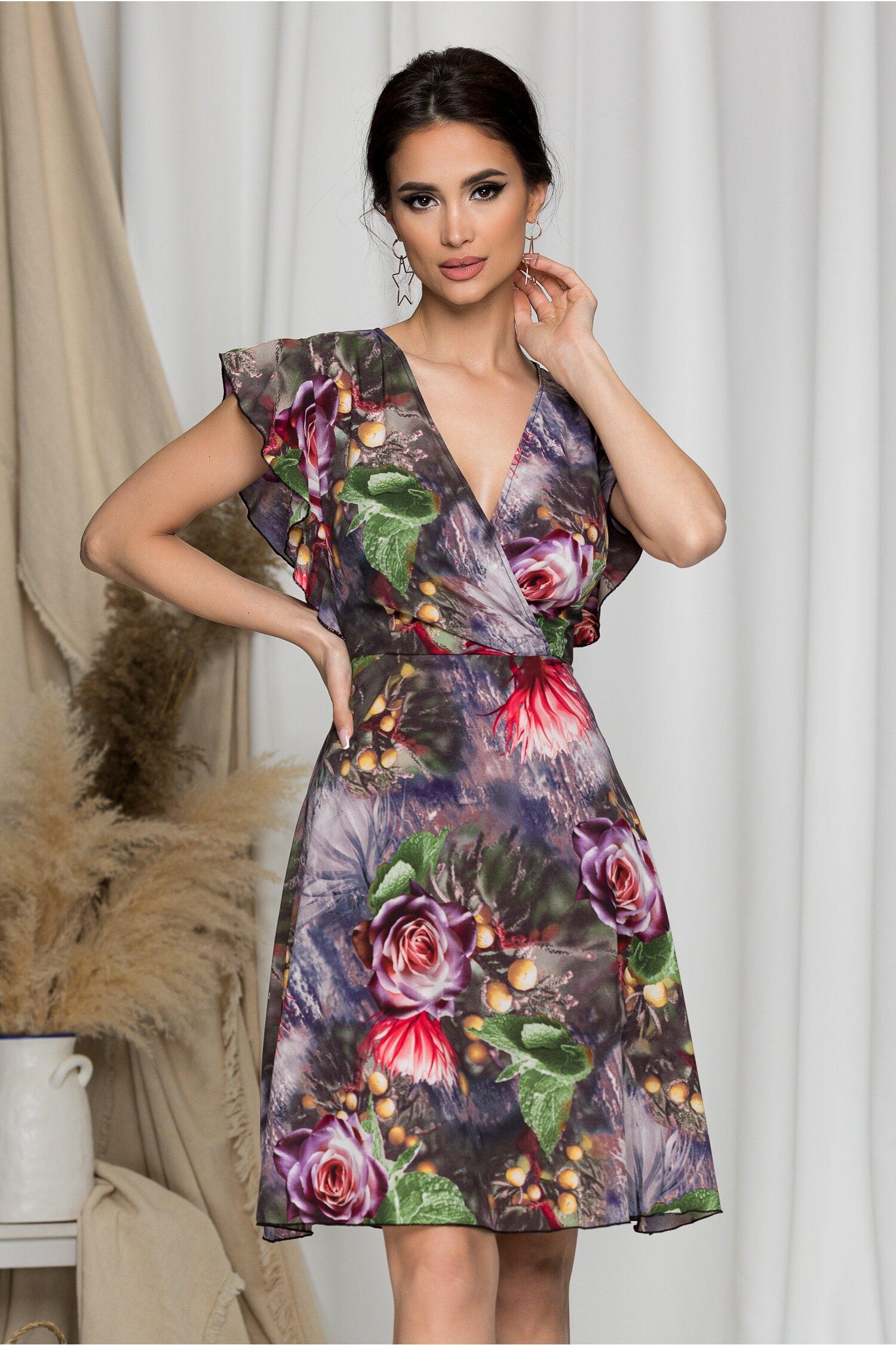 Rochie Juliette lila cu imprimeuri florale