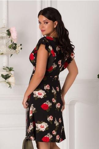 Rochie Juliette neagra cu imprimeu floral
