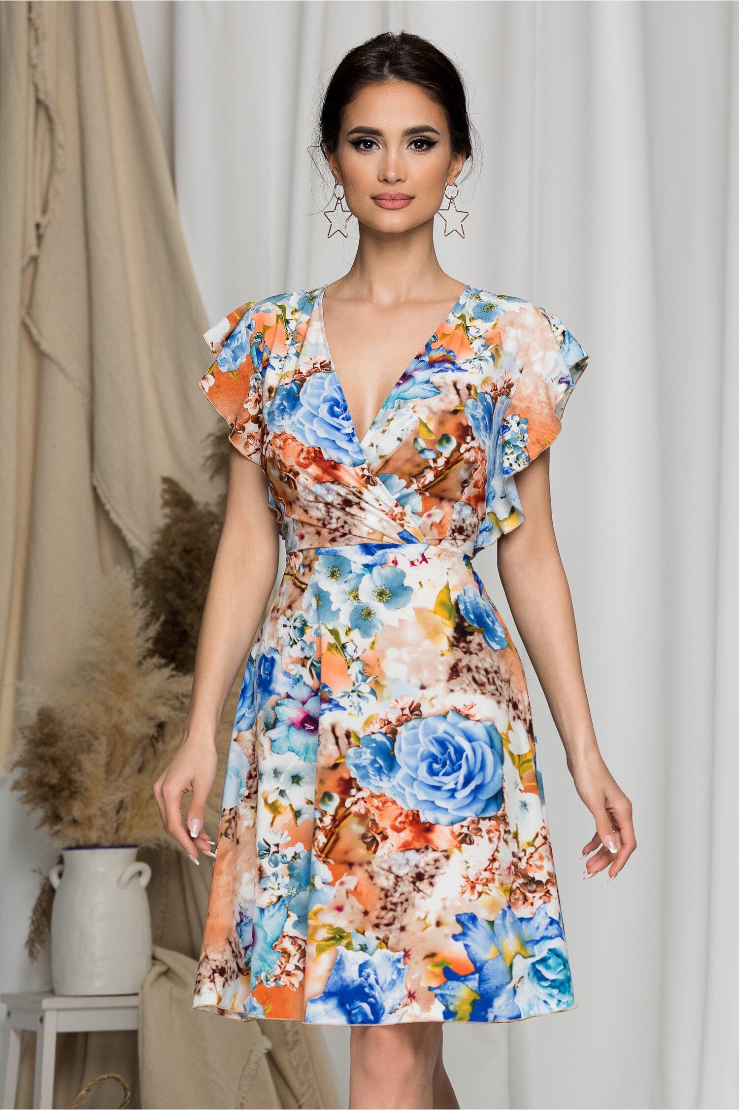 Rochie Juliette orange cu imprimeuri florale bleu