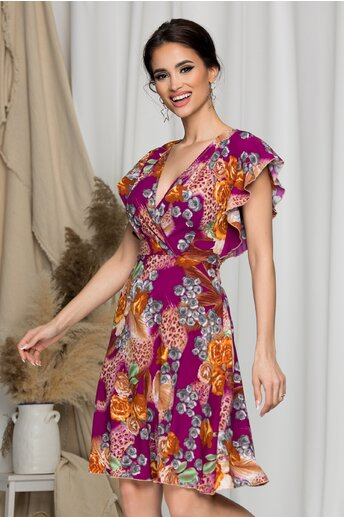 Rochie Juliette violet cu trandafiri caramizii