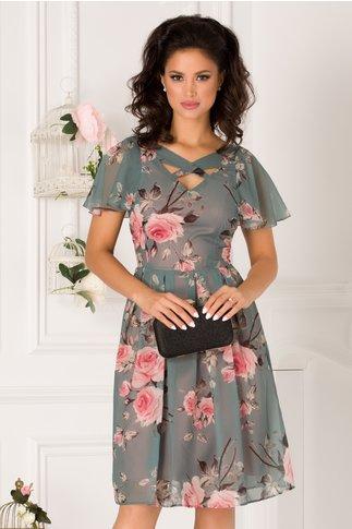 Rochie June gri petrol cu imprimeu floral roz