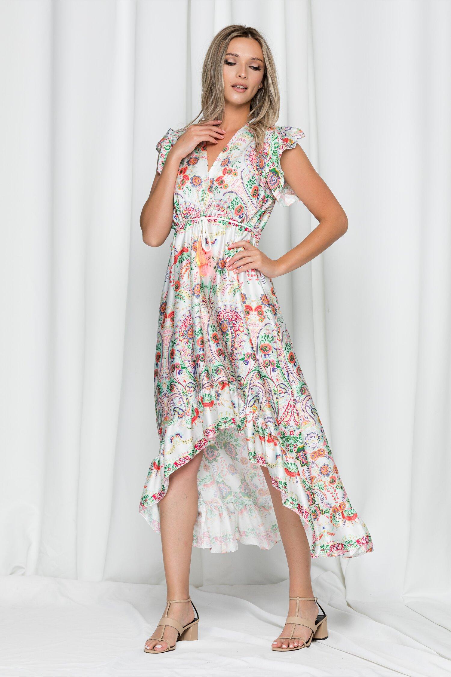 Rochie Kaila alba satinata cu snur in talie si imprimeu floral