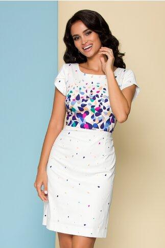 Rochie Kalisa alba cu imprimeu multicolor