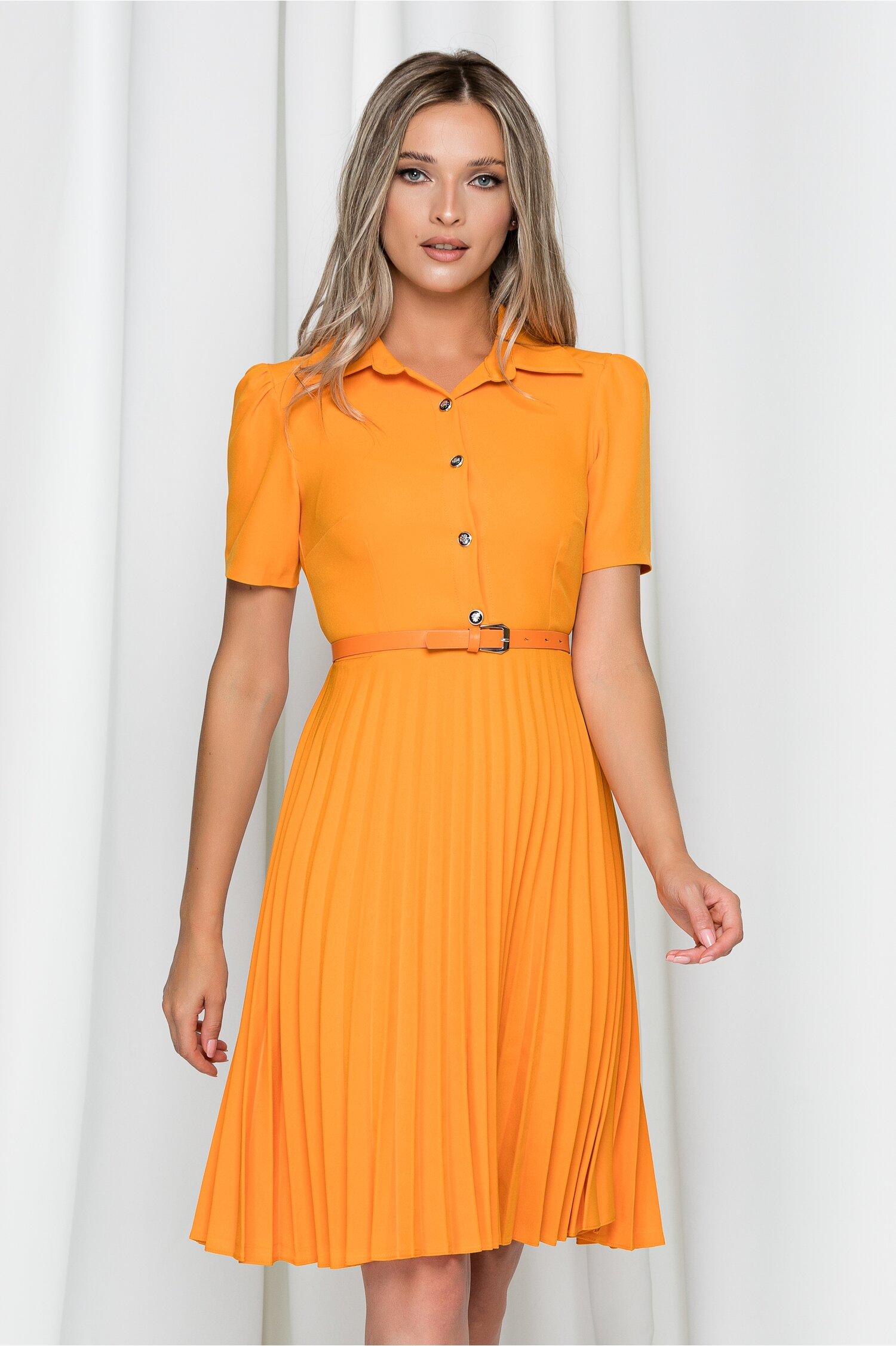 Rochie Kalliope portocalie cu guler tip camasa si pliuri pe fusta