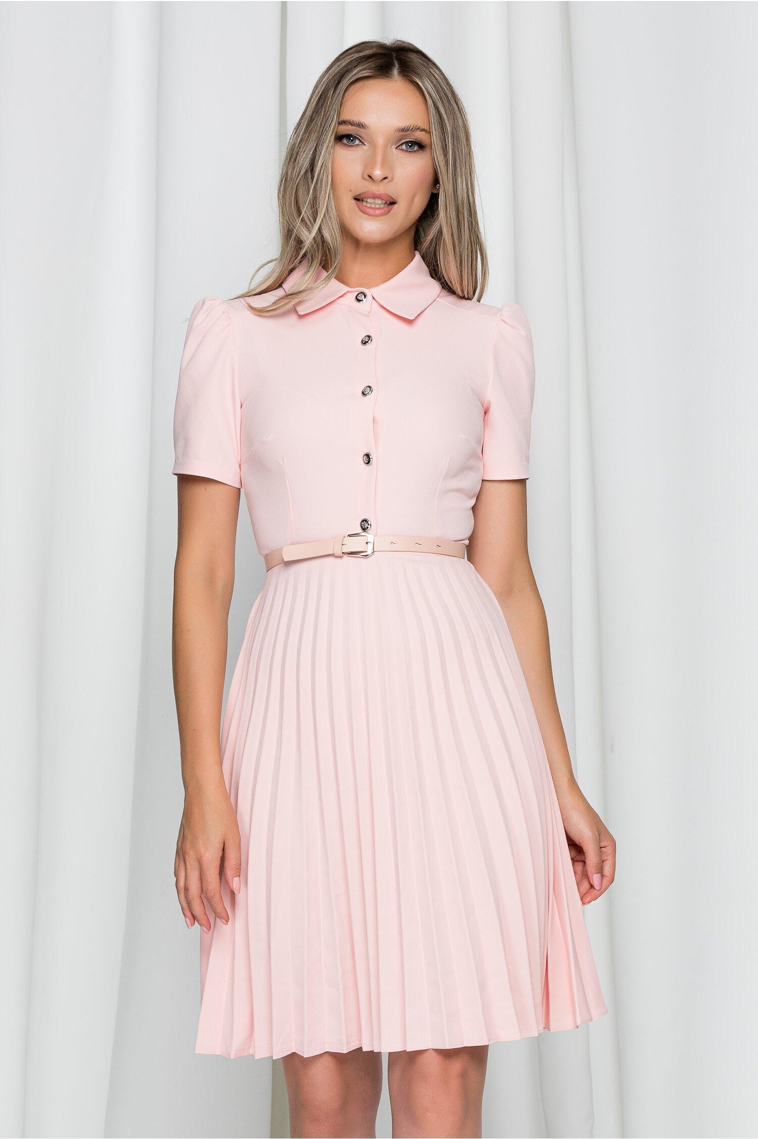 Rochie Kalliope roz cu guler tip camasa si pliuri pe fusta
