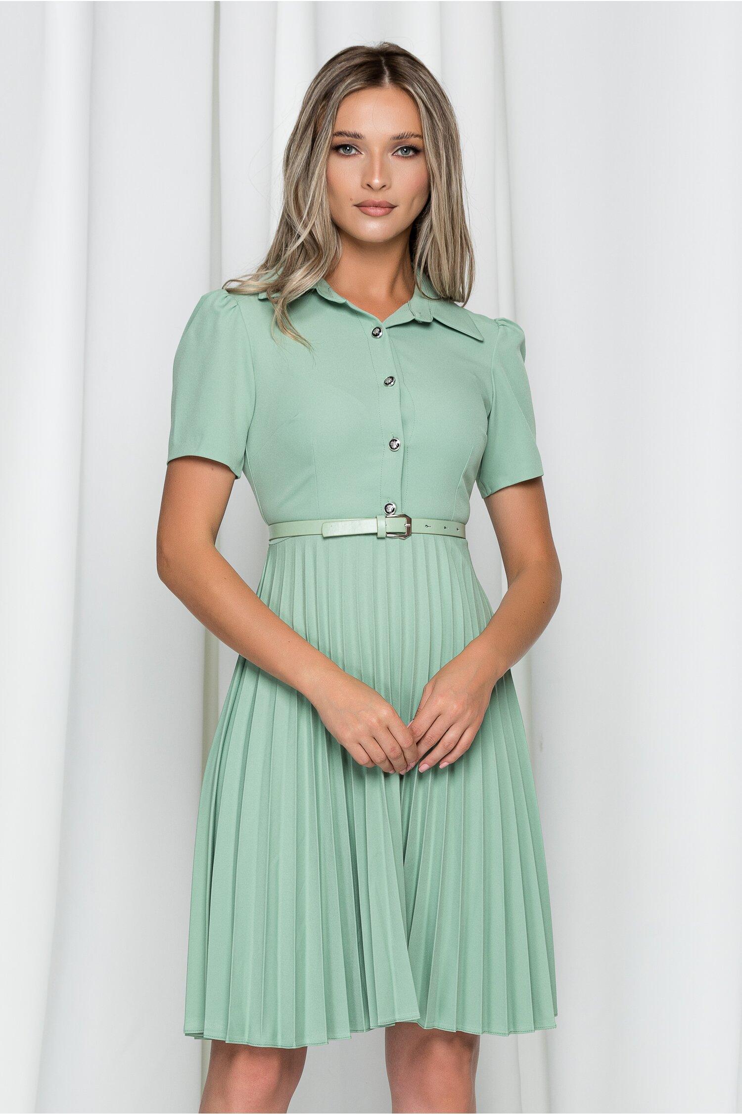 Rochie Kalliope verde mint cu guler tip camasa si pliuri pe fusta