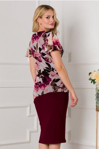 Rochie Kami bordo cu imprimeu floral in nuante pastelate