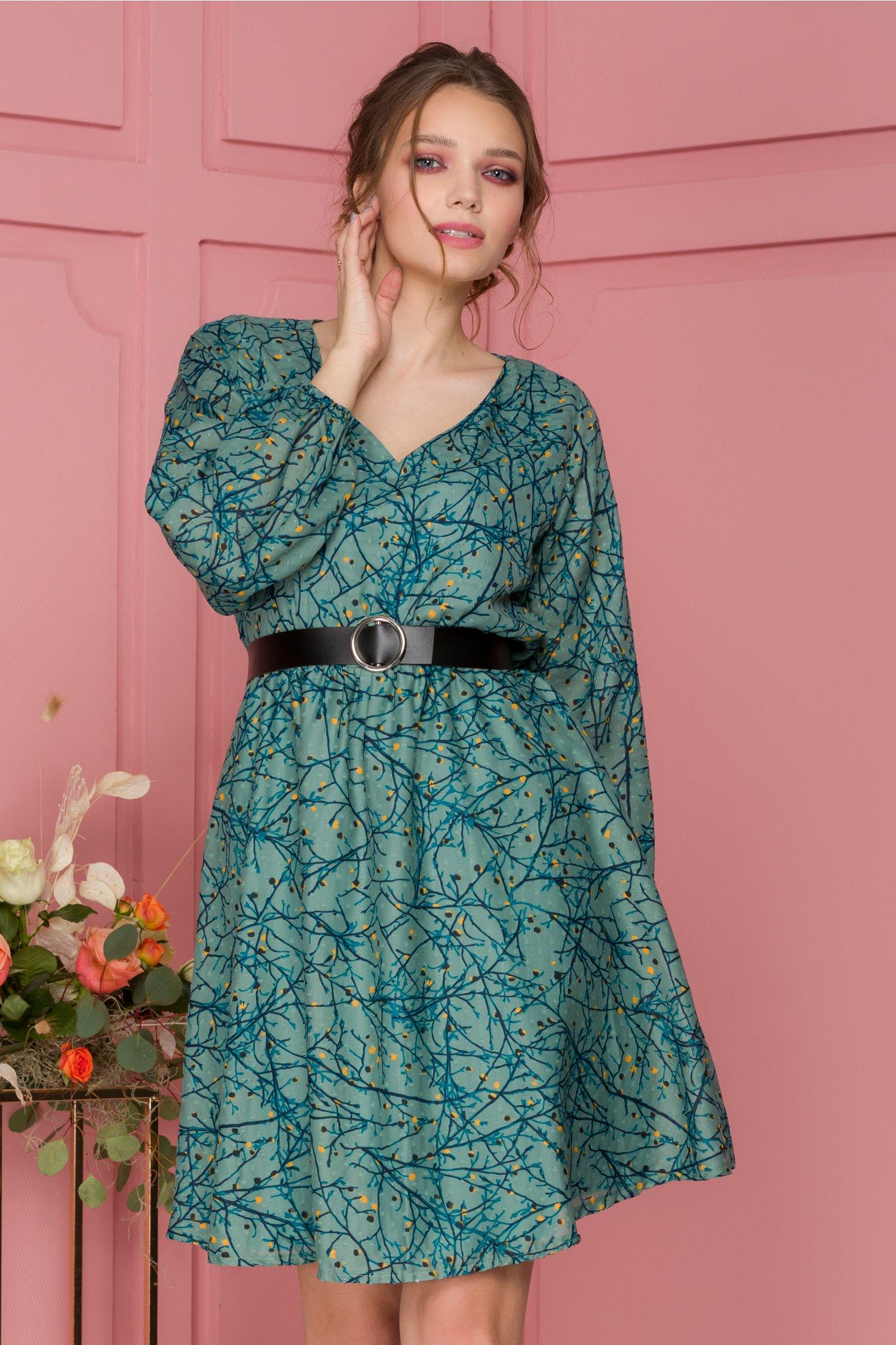 Rochie Kandy verde cu imprimeu floral
