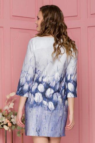 Rochie Kara gri scurta cu imprimeu floral lalele