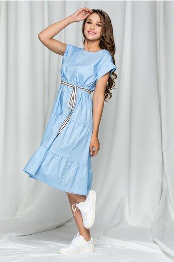 Rochie Karina bleu midi cu maneca scurta si cordon in talie