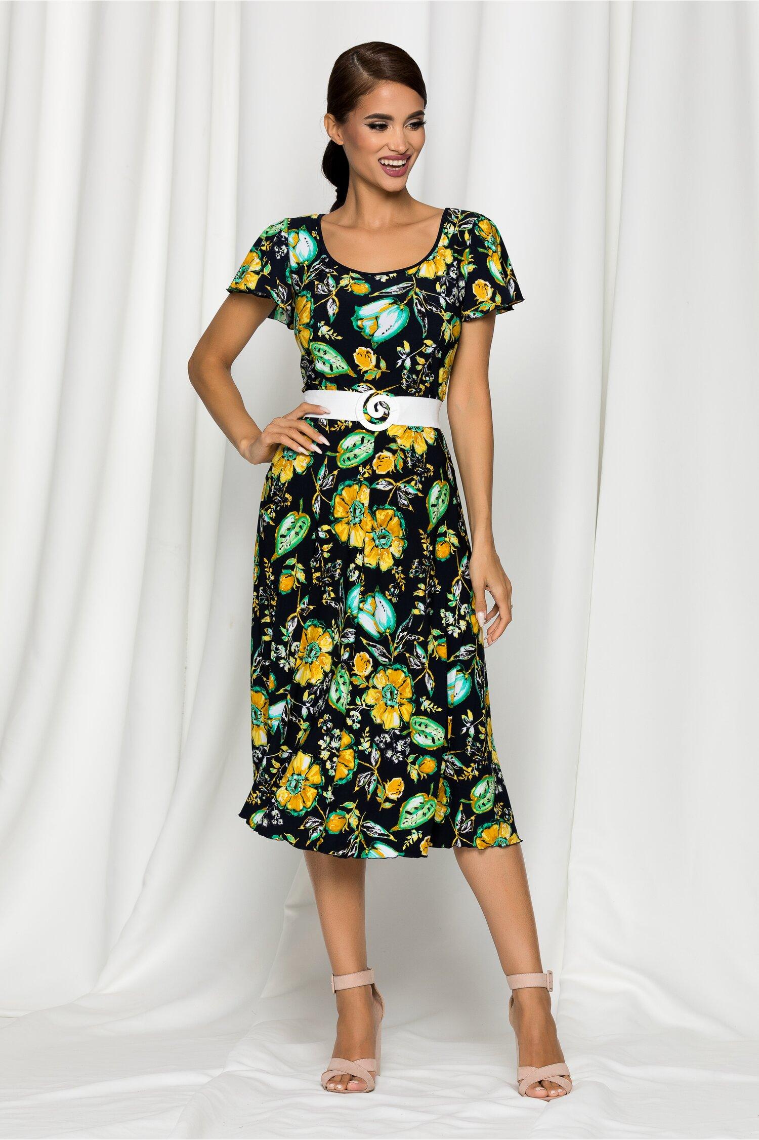 Rochie Karina bleumarin cu imprimeu floral galben