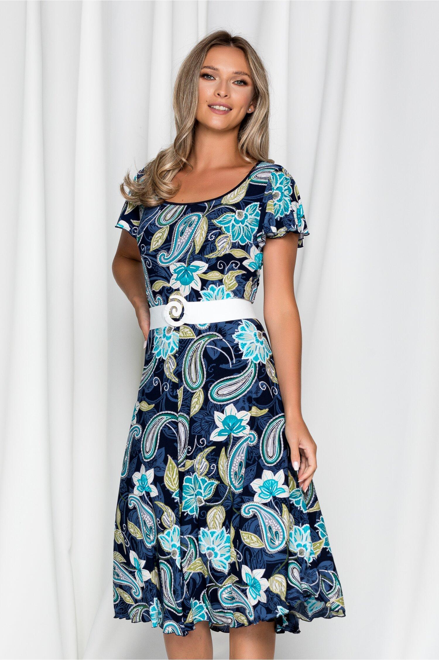 Rochie Karina bleumarin cu imprimeu floral turcoaz