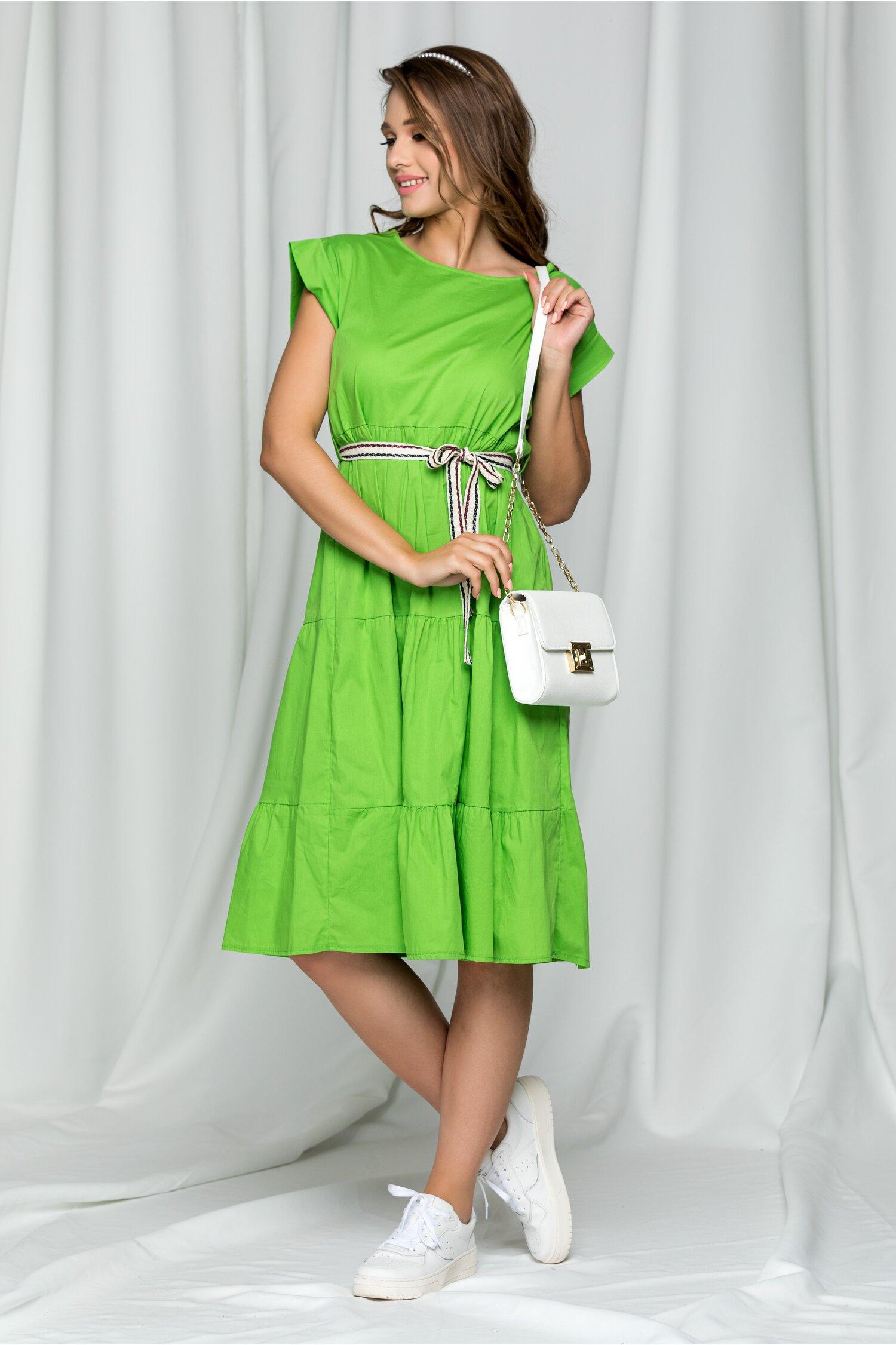 Rochie Karina verde crud midi cu maneca scurta si cordon in talie