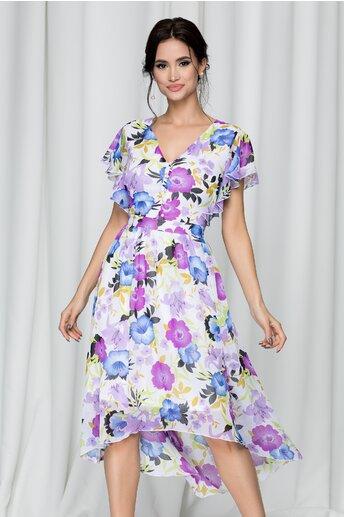 Rochie Karisa alba cu imprimeu floral