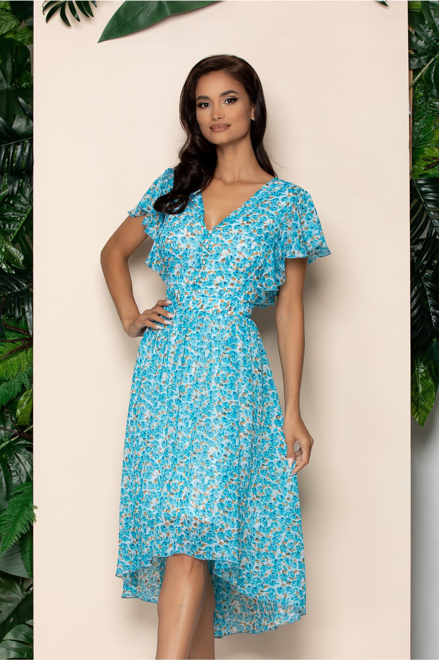 Rochie Karisa bleu cu imprimeu floral