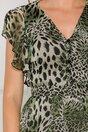 Rochie Karisa cu animal print in nuante de kaki