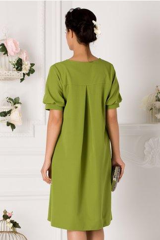 Rochie Karmina verde cu maneci bufante si brosa