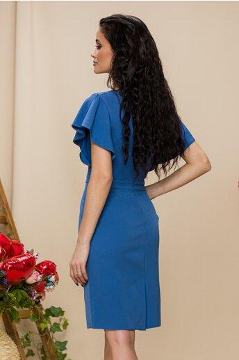 Rochie Kasia bleu midi cu pliuri la bust