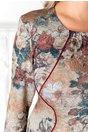 Rochie Kasia cu imprimeu in nuante caramizii