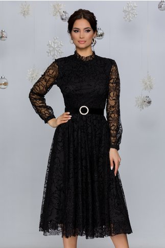 Rochie Kasya neagra accesorizata cu insertii din catifea si glitter