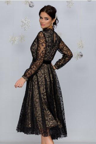 Rochie Kasya neagra cu captuseala bej accesorizata cu insertii florale din catifea si glitter