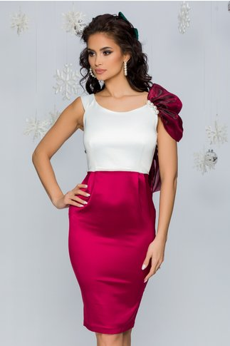 Rochie Kate alb si bordo cu accesoriu din organza la umar