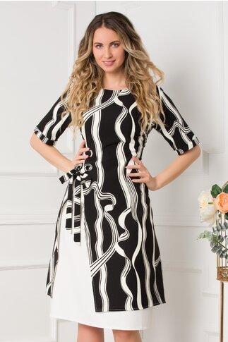 Rochie Kate neagra cu imprimeuri albe