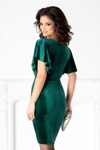Rochie Katerina conica verde din catifea cu reflexii