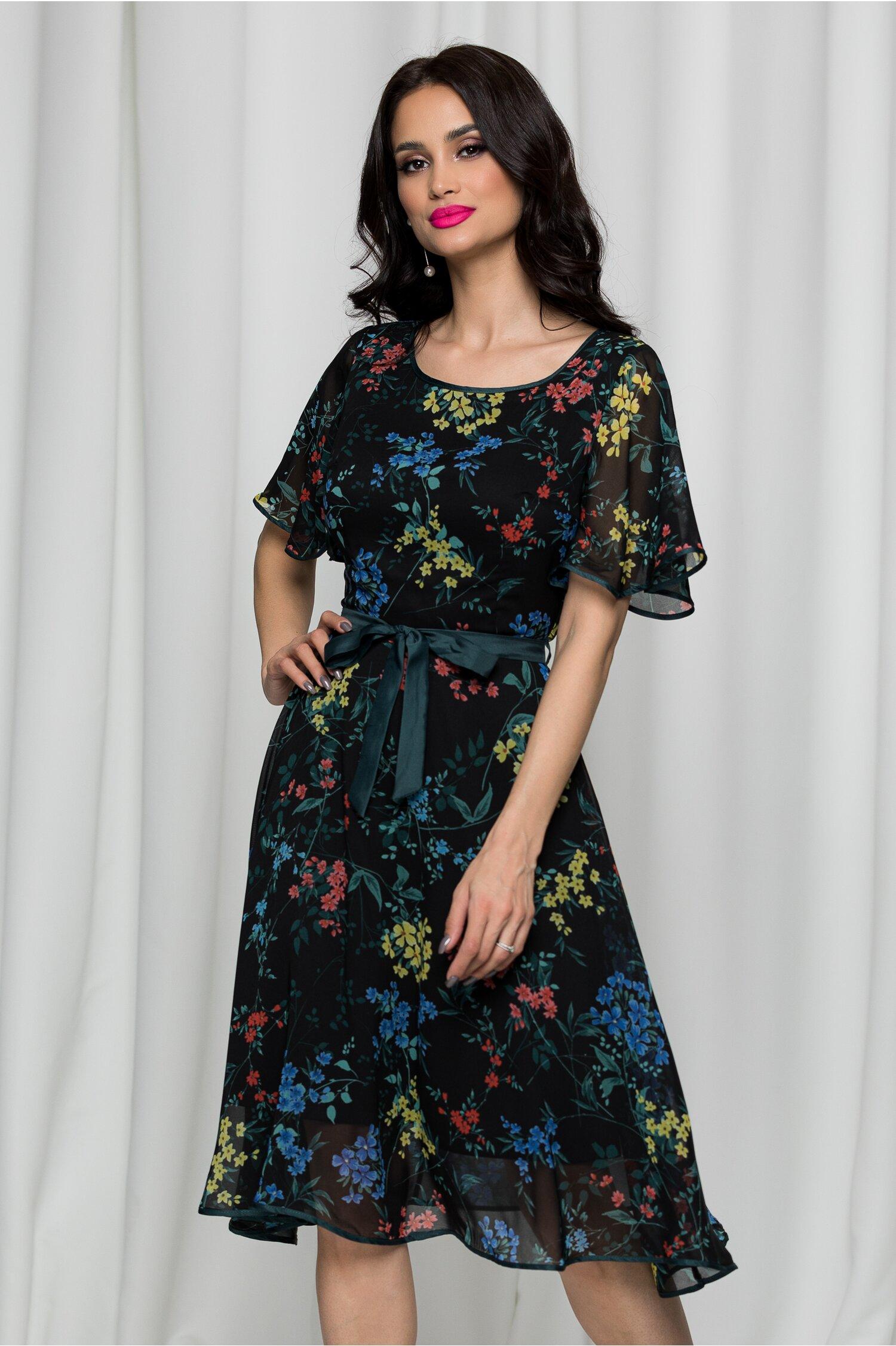 Rochie Kati neagra cu flori colorate