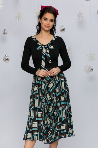 Rochie Katia neagra cu fusta plisata si imprimeu geometric in nuante de galben pal si turcoaz